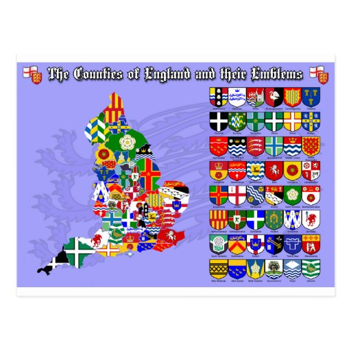 The Counties of England, their flags & emblems Postcards