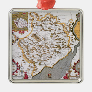 The Countye of Monmouth, engraved by Jodocus Silver-Colored Square Decoration