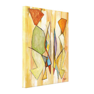 The Couple Beige Abstract Contemporary Art Canvas Prints