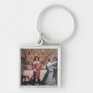 The Court Ball Silver-Colored Square Key Ring