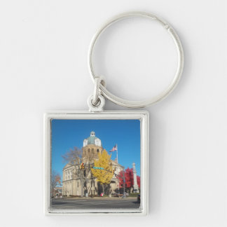 The Court House Silver-Colored Square Key Ring