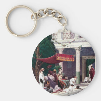 The Court of a Roman House Basic Round Button Key Ring