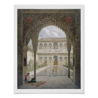 The Court of the Alberca in the Alhambra, Granada, Poster
