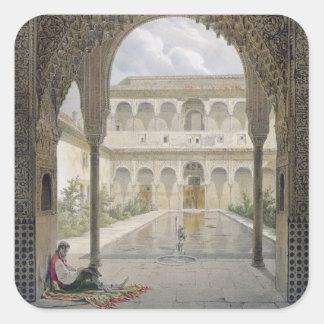 The Court of the Alberca in the Alhambra, Granada, Square Sticker