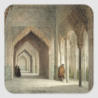The Court Room of the Alhambra, Granada, 1853 (lit Square Sticker