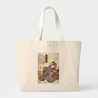 The Courtesan Kaoru of Owariya matched with Okitsu Jumbo Tote Bag
