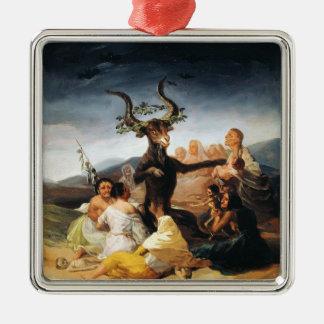 The Coven Francisco José de Goya masterpiece paint Silver-Colored Square Decoration