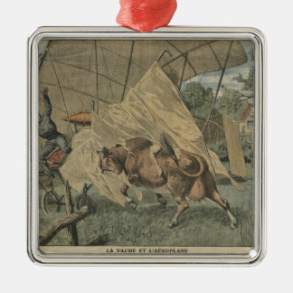 The cow and the airplane Silver-Colored square decoration