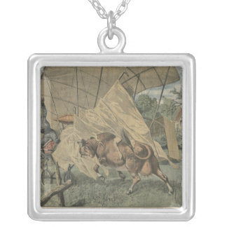 The cow and the airplane silver plated necklace