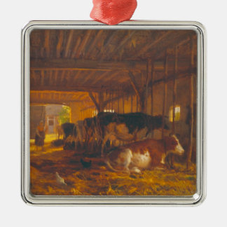 The Cow shed, 19th century Silver-Colored Square Decoration