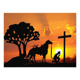 The Cowboy at the foot of the cross digital art Photo Art
