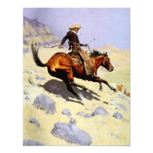The Cowboy by Remington, Vintage American West Art Personalized Invitations