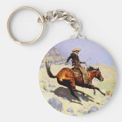 The Cowboy by Remington, Vintage American West Art Key Chain