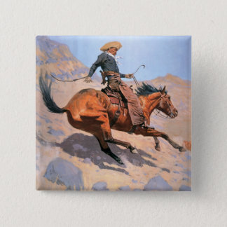 The Cowboy (oil on canvas) 15 Cm Square Badge