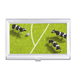 The cows playing soccer business card holder