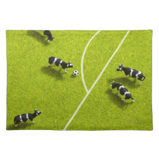 The cows playing soccer placemat