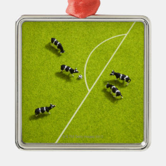 The cows playing soccer Silver-Colored square decoration