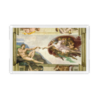 The Creation of Adam by Michelangelo Fine Art Acrylic Tray
