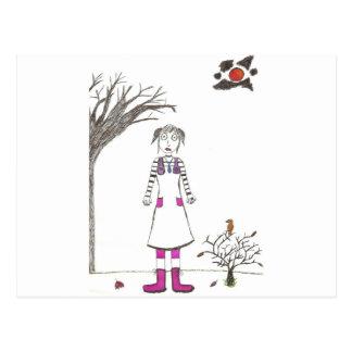 The creepy clown girl postcard