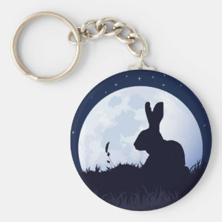THE CREGGAN WHITE HARE BASIC ROUND BUTTON KEY RING