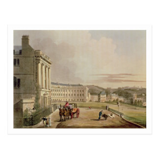 The Crescent, detail of the street, from 'Bath Ill Postcard