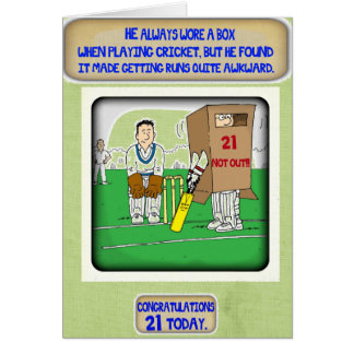 The Cricket Box. 21st birthday card
