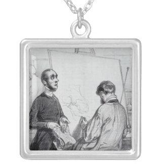 The Critic, published in 'Lecons et Conseils' Square Pendant Necklace