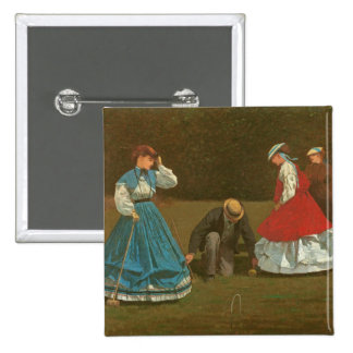 The croquet game, 1866 (oil on canvas) 15 cm square badge