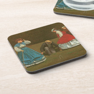 The croquet game, 1866 (oil on canvas) coasters