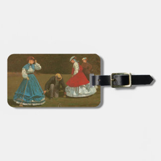 The croquet game, 1866 (oil on canvas) luggage tag
