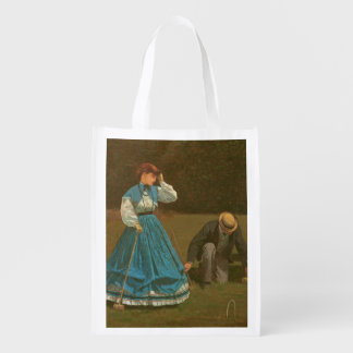 The croquet game, 1866 (oil on canvas) reusable grocery bag