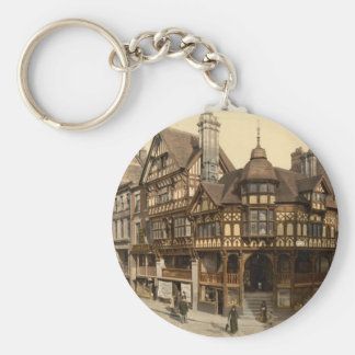 The Cross and Rows, Chester, Cheshire, England Basic Round Button Key Ring