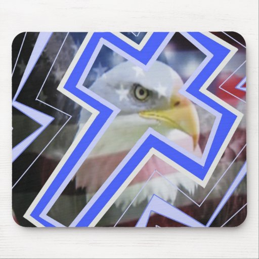 The Cross and the american symbols Mousepad