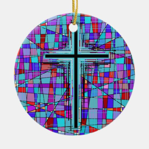 The Cross in Stained Glass. Ornament