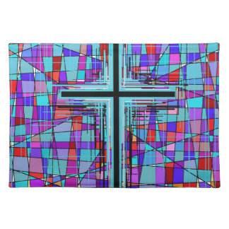 The Cross in Stained Glass. Place Mat