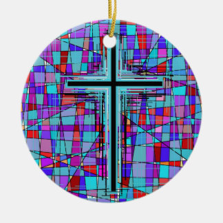 The Cross in Stained Glass. Round Ceramic Decoration