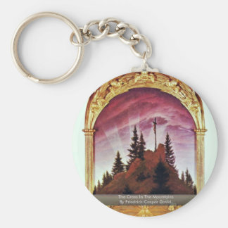The Cross In The Mountains Basic Round Button Key Ring