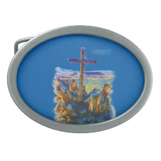 The Cross of Salvation-Saved_ Oval Belt Buckle