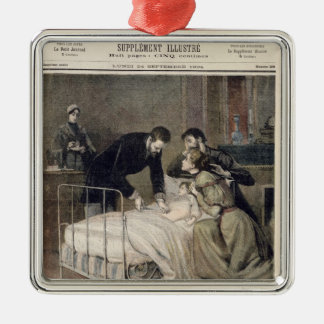The Croup Cured by Doctor Roux Silver-Colored Square Decoration