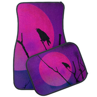 The Crow and the Pink Moon Car Mat