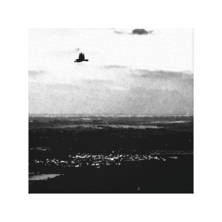 The crow flies - gothic image of a crow canvas print