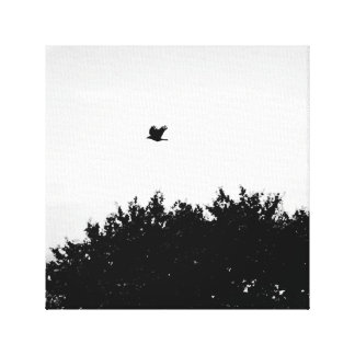 The crow flies on - gothic black and white canvas