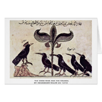 The Crow King And His Council By Arabischer Maler Greeting Card