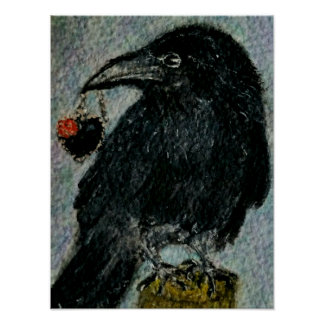 'The Crow that stole the Necklace!'  Watercolour g Poster