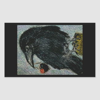 'The Crow that stole the rose necklace!'  Birthday Rectangular Sticker