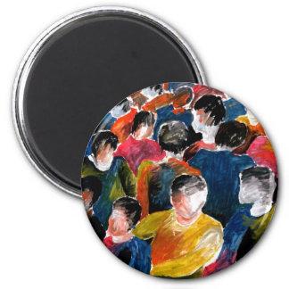 The Crowd - fridge magnet. 6 Cm Round Magnet