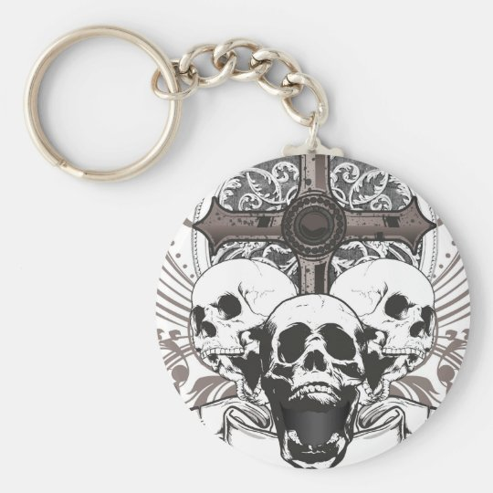 The Crown and Cross Basic Round Button Key Ring