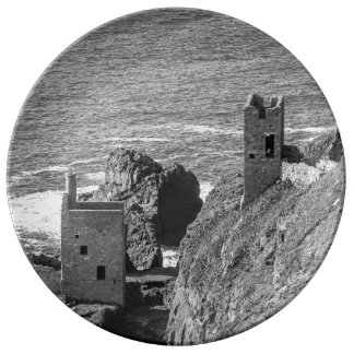 The Crown Mines engine houses, Botallack, Cornwall Porcelain Plate