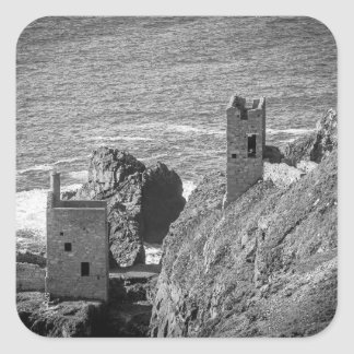 The Crown Mines engine houses, Botallack, Cornwall Square Sticker