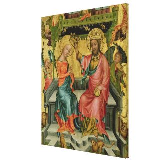 The Crowning of the Virgin, from the right wing Canvas Print